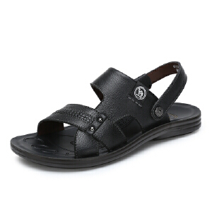 骆驼牌 男鞋 2017夏季新品透气露趾男凉鞋凉拖两穿休闲鞋沙滩鞋