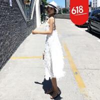 原创泰国潮牌沙滩裙海边度假性感露背礼服裙白色流苏羽毛吊带连衣裙夏GH032 白色