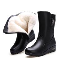 冬季新款靴子加绒防滑羊毛女士中筒妈妈棉鞋平底保暖加厚冬鞋