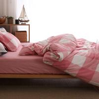 水洗棉四件套全棉纯棉格子简约良品床上用品三件套男宿舍床单被套 2.0M床适合220*240cm被芯 床单款