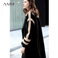 【到手价:371元】Amii极简学院风chic英伦毛呢外套女2018冬季新款宽松撞料拼接大衣