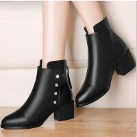 古奇天伦短靴女新款潮百搭韩版粗跟靴子高跟鞋加绒马丁靴