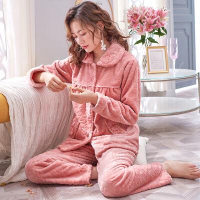 珊瑚绒睡衣女士秋冬季加厚保暖加绒长袖妈妈法兰绒家居服冬天套装