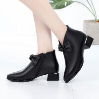 短靴女春秋新款单靴中跟牛皮马丁靴粗跟百搭女鞋加绒棉皮鞋冬 黑色单靴 跟高4公分