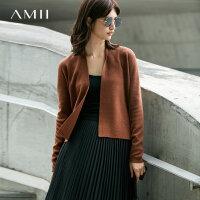 【到手价:130元】Amii极简欧货气质百搭针织开衫女2019春季新直筒开襟混纺毛衣外套