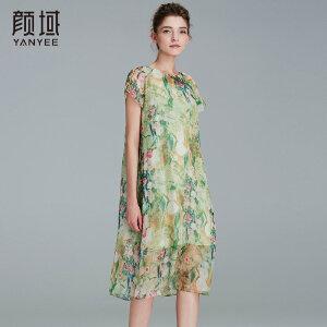 颜域品牌女装2017夏季新款时尚优雅圆领宽松雪纺水墨印花连衣裙女