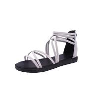 夏季凉鞋女百搭罗马潮流夏天鞋子女生平跟新款休闲鞋平底学生凉鞋 灰色 普通版