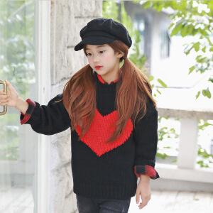 时尚百搭童软毛衣秋冬新品红心撞色毛线上衣中大童装