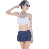 游泳衣女比基尼bikini裙式三件套大胸小胸性感 支持礼品卡支付